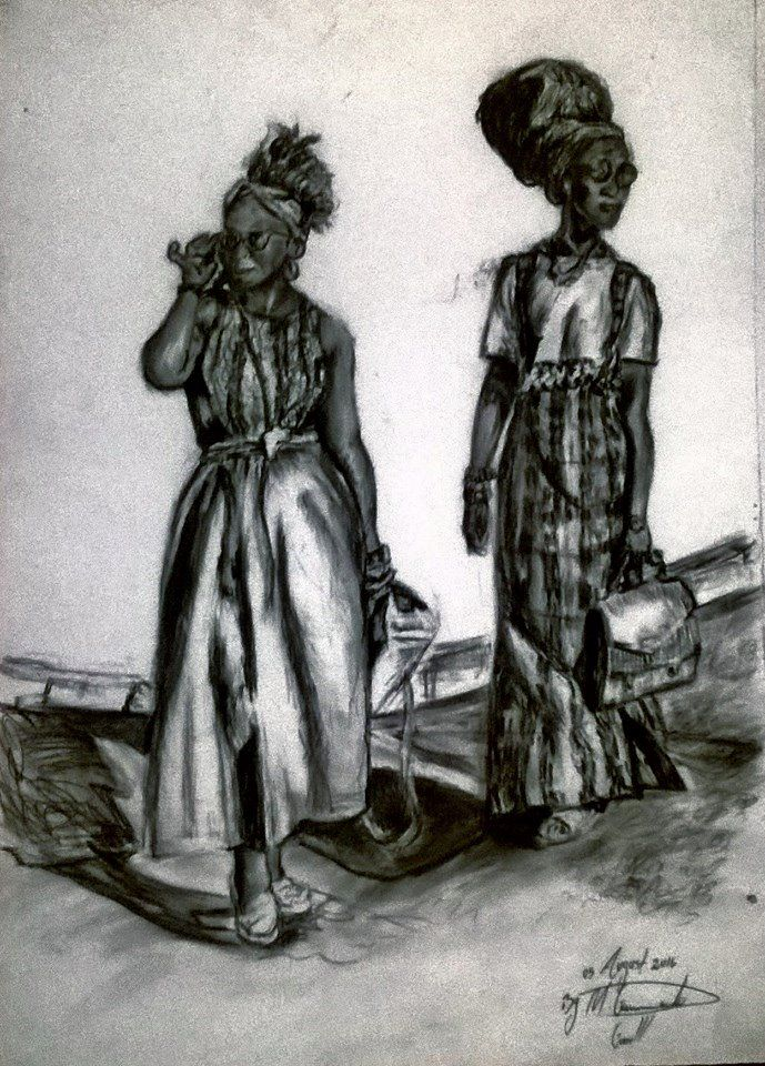 exploring the medium of charcoal, Clothing is the way to express your feelings in Creativity.