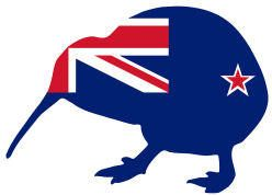 New Zealand flag and kiwi
