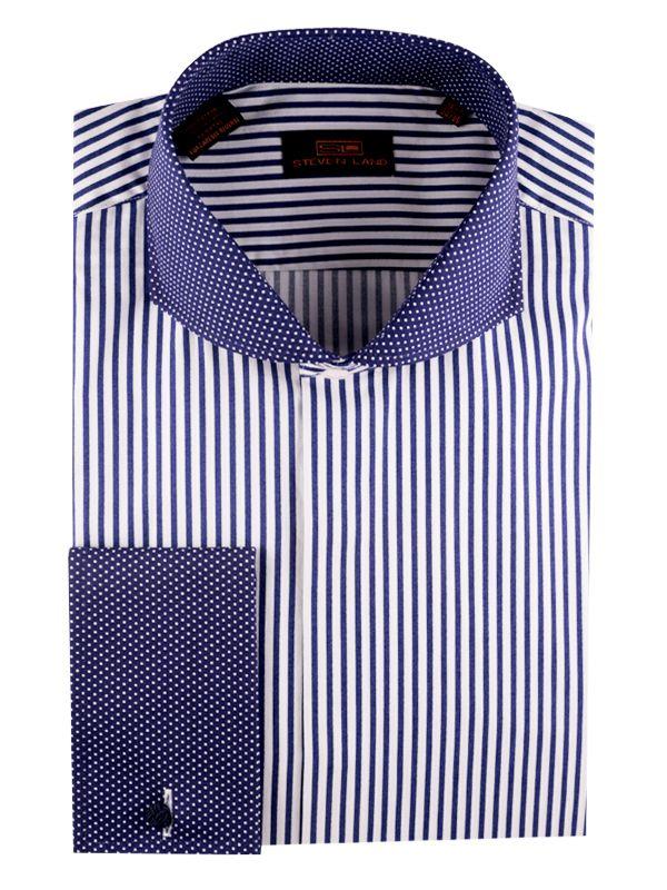 Steven Land Dress Shirts   DS1224 | Blue $59 #StevenLand #Blues 100% Cotton Shirt | Stripe with cut-away Pin Dot Collar | Pin Dot French Cuff | Covered Placket
