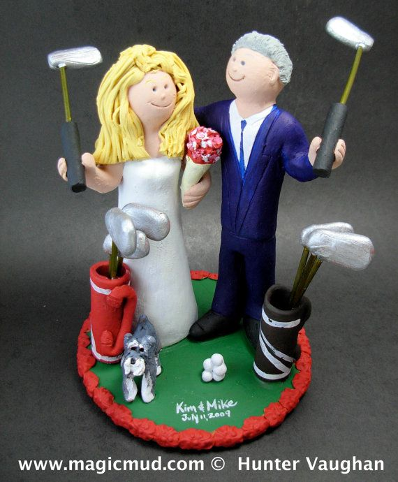Golfing Wedding Cake Topper, Golfing Bride Wedding Cake Topper, Golfer's Wedding Cake Topper, Golf Destination Wedding Cake Topper    This photographed listing is but an example of what we will create for you....simply email or call toll free with your own info and pictures of yourselves, and we will sculpt for you a treasured memory from your wedding!    $235 #magicmud 1 800 231 9814 www.magicmud.com