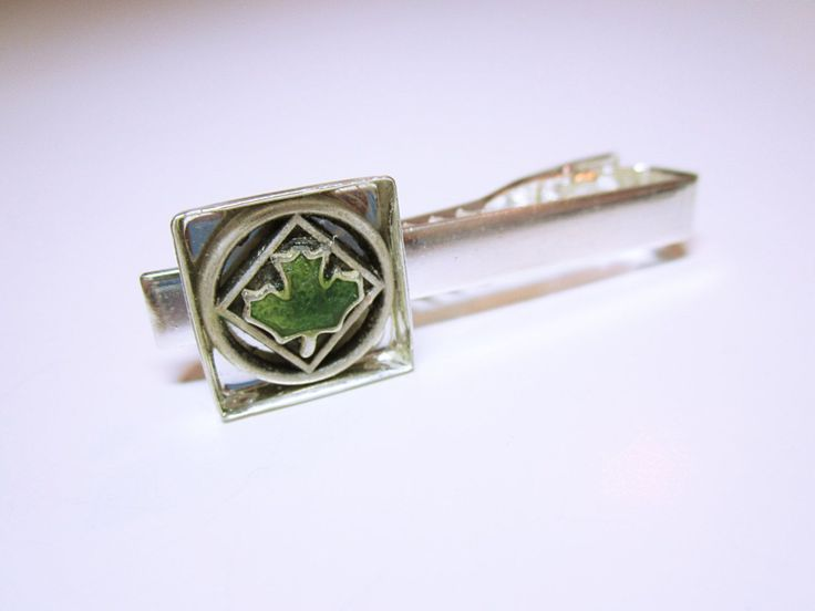 JEWELRY FOR HIM Green Maple Leaf Silver Tie Clip One Of A Kind Tie Clip Jewelry Gift For Him Men's Accessories  FREE SHIPPING  #tie #tieclip #giftformen #green #mapleleaf #silver #giftideas #menswear #gift #tiesclip