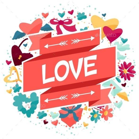 Hintergrund mit den Ikonen des Valentinsgrußes und der Hochzeit   – Wallpapers Fondos