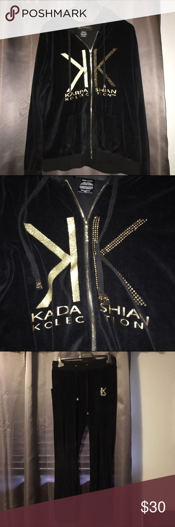 Kardashian Kollection sweat suit Never worn Kardashian Kollection sweat suit. Black and gold and still on hangers that it was bought on! Very comfy and stylish Kardashian Kollection Other
