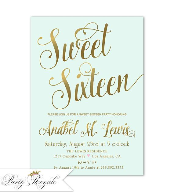 Gold Sweet 16 Invitation Sweet Sixteen Birthday Invitations
