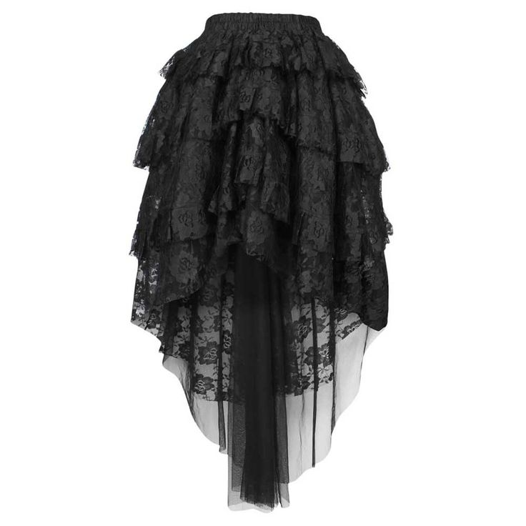 VG London Burlesque kanten rok met lagen zwart - Gothic | Attitude Hol