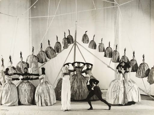 Scene from the ballet 'Ode' designed by Pavel Chelischev, Paris, 1928.