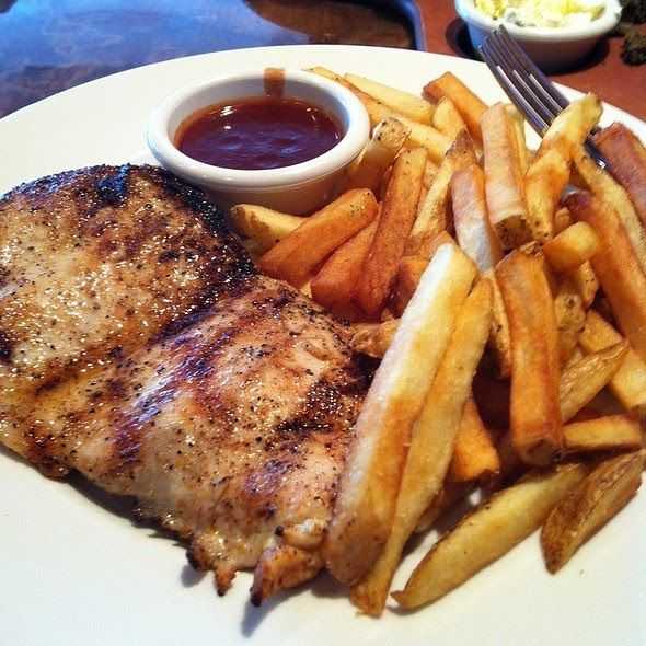 GRILLED CHICKEN on the BARBIE Outback Steakhouse Copycat Recipe Seasoned and grilled chicken breast with BBQ sauce served with Au...