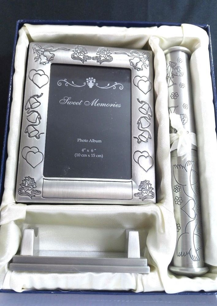 """Set of Wedding Marriage Certificate Holder with Stand & 4""""x6"""" Photo Album in Box #Unbranded"""