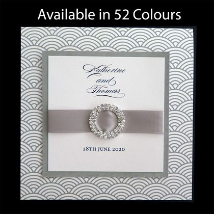 These original wedding invitations are printed with a wave pattern which is available in more than 50 colours. www.kardella.com