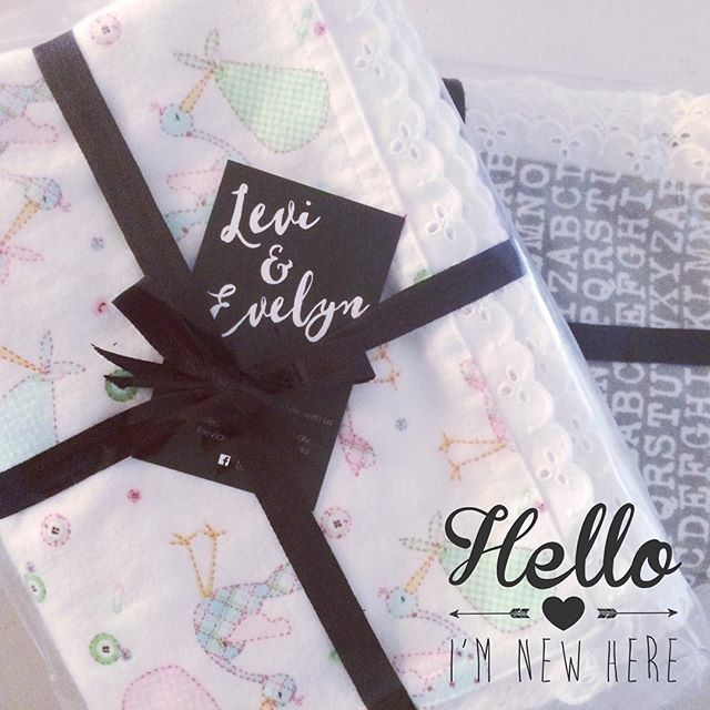 || HELLO... I'M NEW HERE || {available for order now!} Our 100% cotton flannelette Swaddles with a beautiful cotton lace trim. Perfect for Swaddling your newborn in. Makes a great baby shower present!  Unisex designs. Generous sizing. #leviandevelyn #leviandevelynlove #babyswaddles