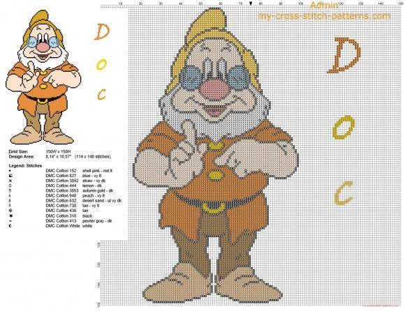 Il nano Dotto da Disney Biancaneve e i sette nani schema punto croce