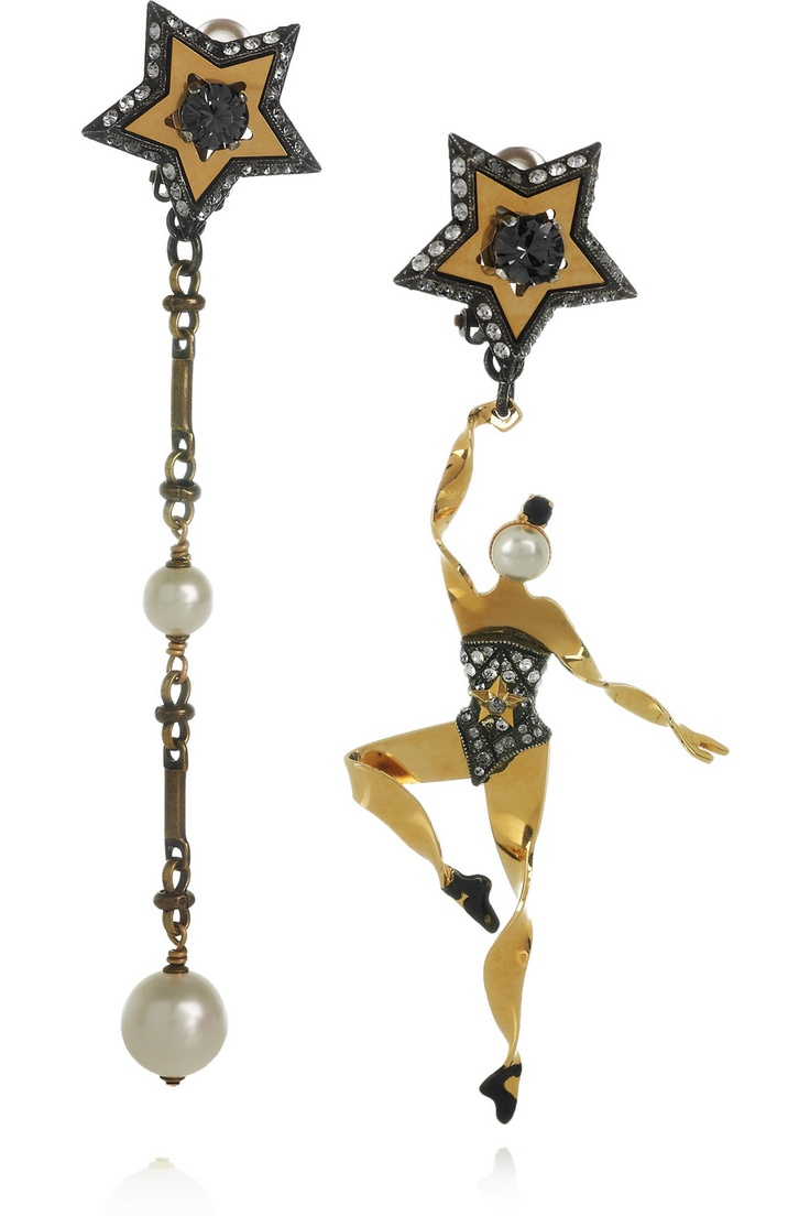 Russian Ballet dancer mismatching earrings. major Lanvin love.: Ballet Dancers, Crystals Clip, Brass Earrings, Jewelry, Swarovski Crystals, Clip Earrings, Gold Danseus, Lanvin Danseus Swarovski, Mismatched Earrings