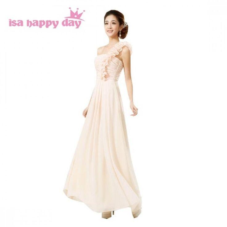 Champagne elegant long one shoulder chiffon embellished bridesmaid dress $ 490.20 and FREE Shipping  Tag a friend who would love this!  Active link in...