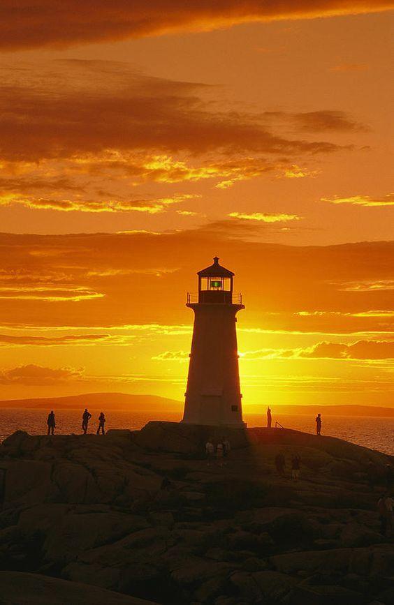 Peggy's Cove Lighthouse at sunset - Nova Scotia, Canada