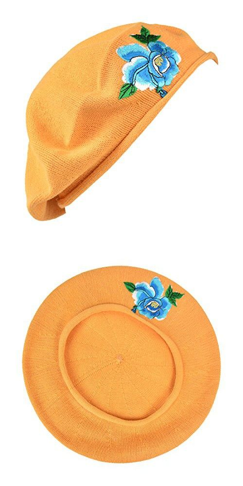 fee160ba1c4b9 Blue Flower with Leaves Applique on Cotton Beret Womens Head Cover - Pumpkin