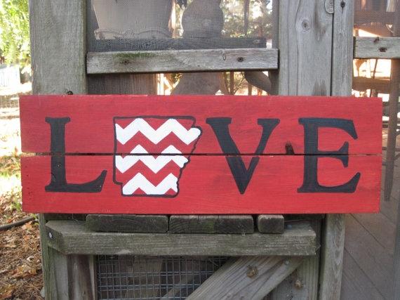 Love/Arkansas Chevron Hand Painted Wood Sign....but of Oklahoma instead