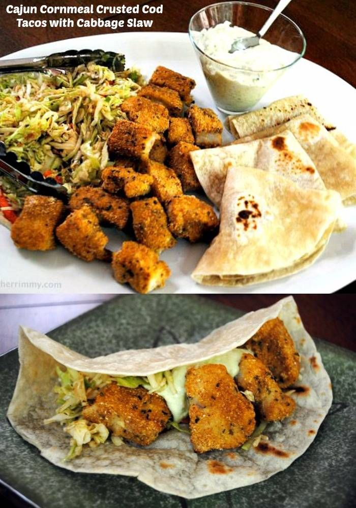 Cajun spiced cornmeal crusted cod and cabbage slaw make awarm and spicy seafood taco.