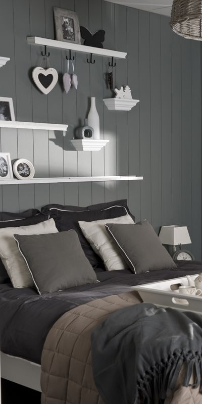 Gray, gray, gray - what can I say....Just beautiful!  The shelving creates a great focal point for this bedroom.