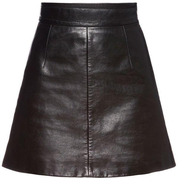 Miu Miu SKIRT ($1,090) ❤ liked on Polyvore featuring skirts, mini skirts, short leather skirt, leather skirts, long skirts, leather mini skirt and long leather skirt
