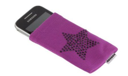 Trendz Universal Smartphone Sock for iPhones (iPhone 5 and Previous Models Only), iPods and MP3 Devices - Purple with Diamante Star