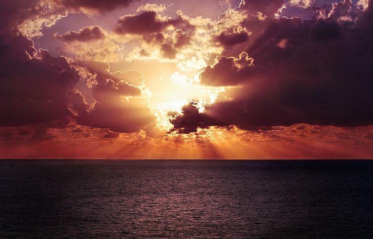 Horizon, Sky, Sunset, Ocean, Water, Sea, Beach, Orange