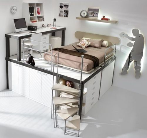 LOFT BEDS (NOT JUST FOR KIDS) I would chose a brighter color tho