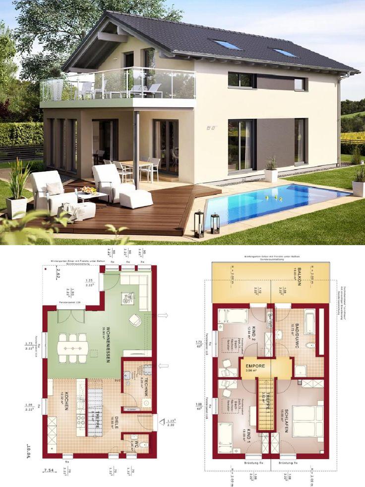 Modernes Einfamilienhaus mit Satteldacharchitektur und Wintergartenfenster mit Balkon …