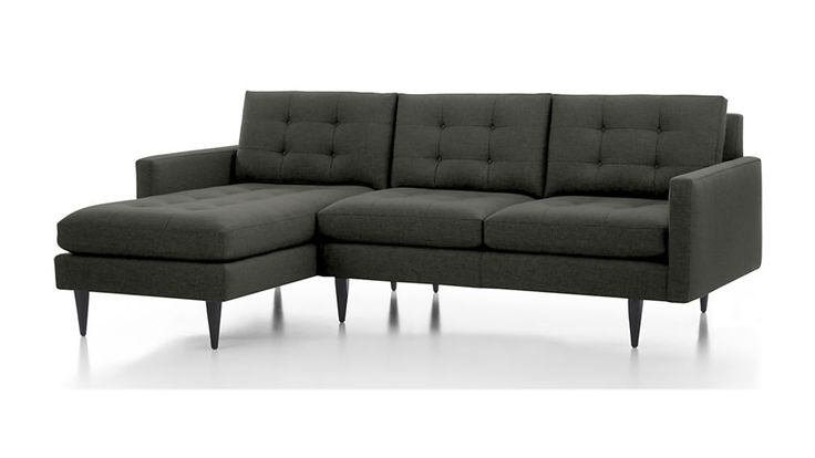 Petrie 2-Piece Left Arm Chaise Sectional Sofa - Charcoal | Crate and Barrel