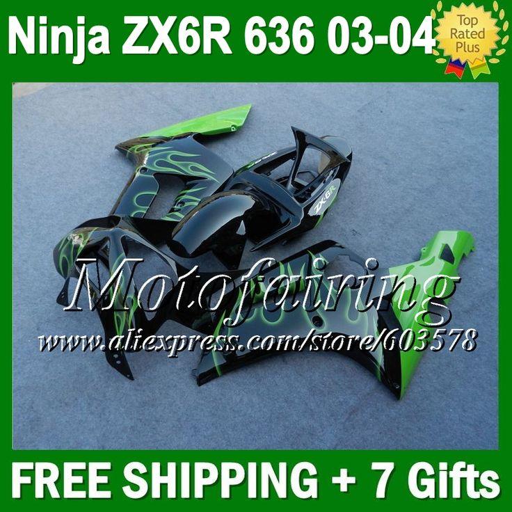 Зеленый 7 подарки для KAWASAKI ниндзя 03 - 04 ZX-6R 03 04 ZX 6 R зеленый черный CL101 ZX 6R 636 2003 2004 ZX6R ZX636 обтекатели