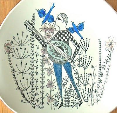 Potshots: Inger Waage Stavangerflint Man with Mandolin plate