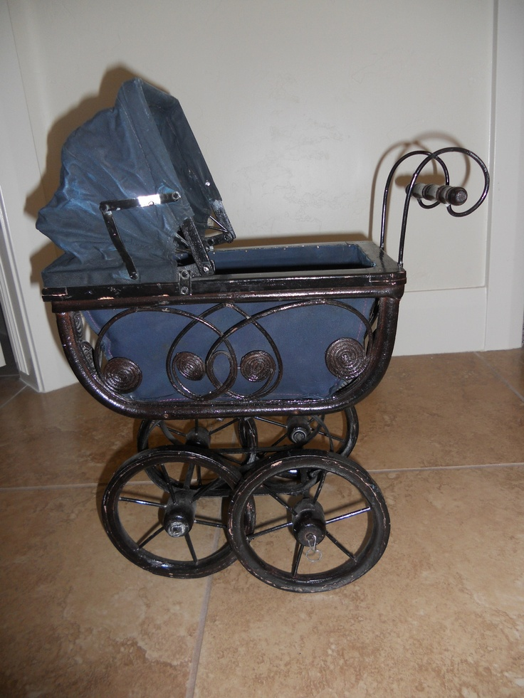 Antique Victorian Doll Buggy Pram Carriage Wicker Iron