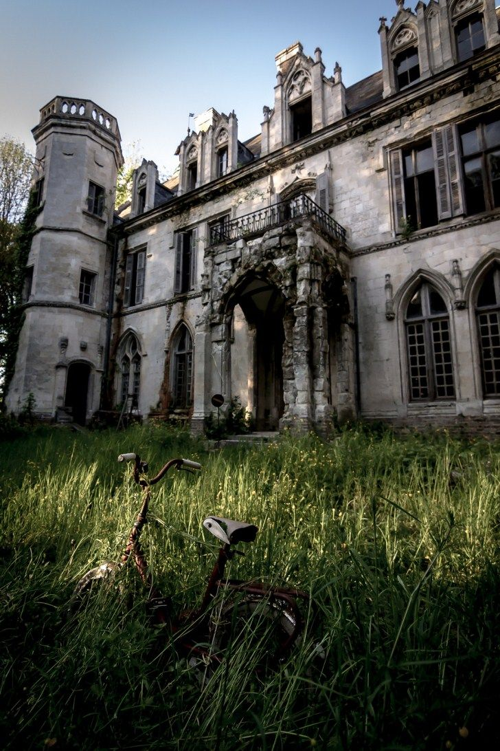The abandoned, medieval Chateau Clochard in the small commune of Pont-Remy in Picardie, Northern France.