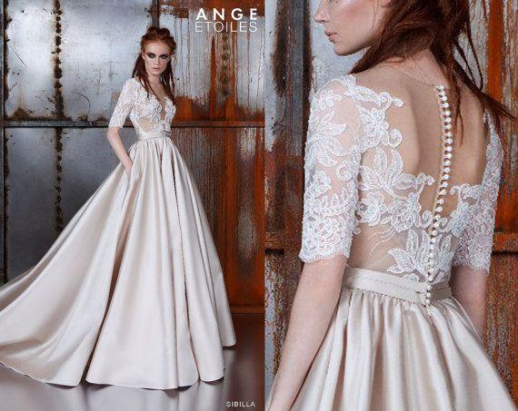 Trouwjurk SIBILLA, trouwjurken a-lijn trouwjurken ball gown, Wedding dresses 3/4 mouwen