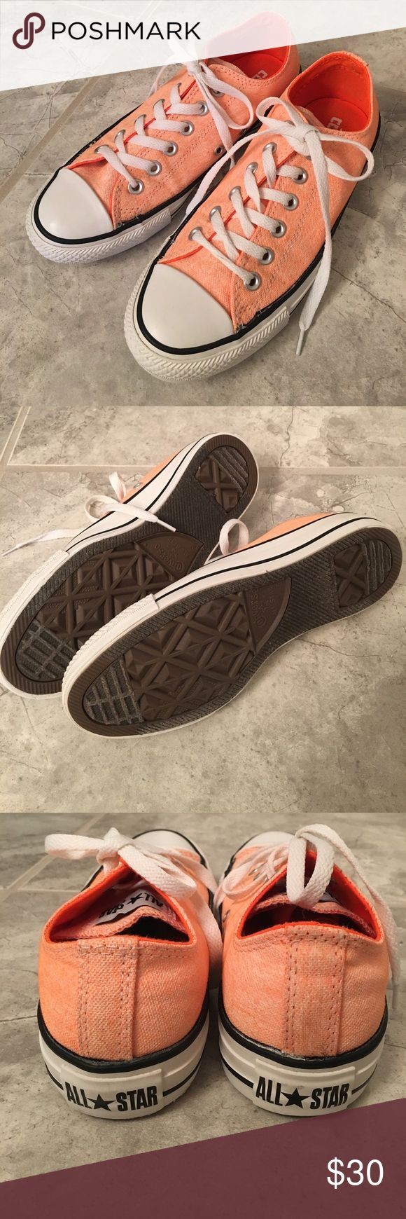 Neon orange Converse All Stars Worn only once - in pristine condition as you can see in the pics! Size 7 neon orange awesome classic Converse All Star sneakers. Snag them quick! Converse Shoes Sneakers