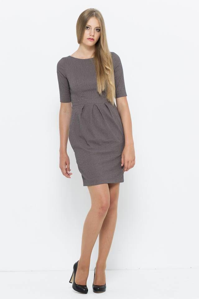 sukienka do pracy w drobne pepito od VISSAVI