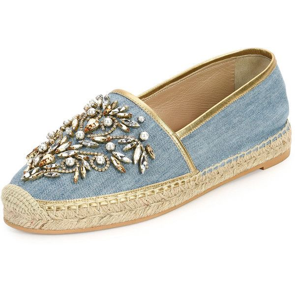 Rene Caovilla Crystal-Embellished Denim Espadrille Flat found on Polyvore featuring shoes, flats, denim, shoes flats espadrille, denim flats, slip on espadrilles, woven flats, woven shoes and slip on flats