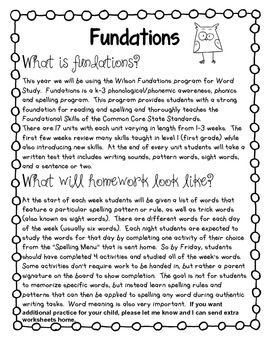 This is a great resource package for weekly Fundations Level 2 homework.  For each unit there is a description page that outlines the skills taught (taken directly from the Wilson information packet for parents).  I send this home with my Friday newsletters in preparation for the start of the new unit on a Monday.