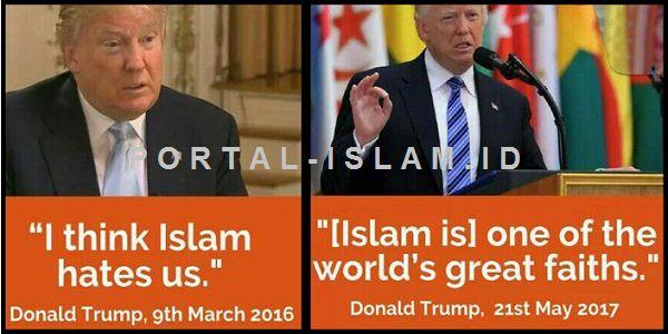 """Pandangan TRUMP Tentang Islam Berubah Setelah Kunjungi Arab Saudi  [PORTAL-ISLAM] Lawatan ke Arab Saudi ternyata membawa banyak perubahan pada pandangan Presiden AS Donald Trump mengenai Islam. Trump yang semasa kampanye gencar menyuarakan perlawanan pada kelompok radikal Islam nampak begitu menghormati Islam saat mengunjungi Arab Saudi. Sikap Trump yang nampak keras terhadap Islam diyakini Fadli Zon hanya merupakan retorika saat kampanye. """"Saya yakin apa yang dia katakan selama kampanye…"""