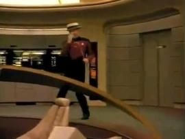 "Yes, that fuzzy image is Picard dancing to the Star Trek version of ""Call Me Maybe."" http://cnet.co/MUZR9c"