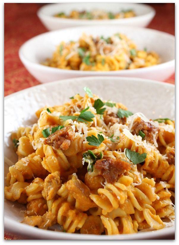 Creamy Pumpkin Pasta with Sweet Italian Sausage #recipe - RecipeGirl.com