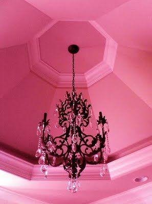 Home:feminine/karen cox...pink ceiling, black chandelier