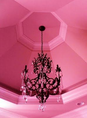 Hot hot pink: Houses, Hotpink, Pink Chand, Pink Rooms, Black Chandelier, Hot Pink, Little Girls Rooms, Pink Ceilings, Pink Black