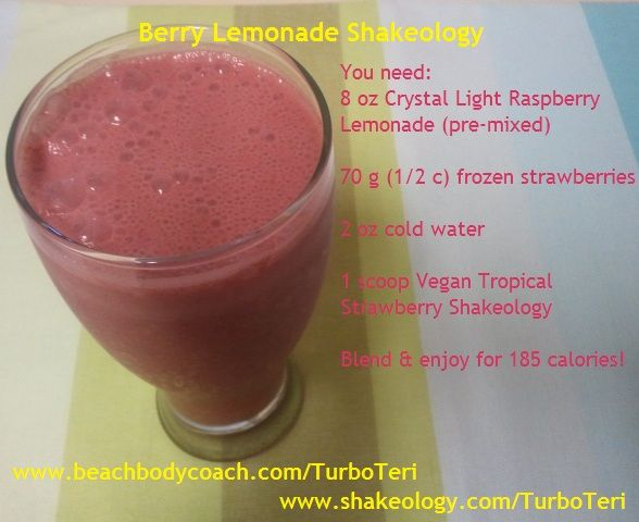 Berry Lemonade Shakeology is a perfect treat for Labor Day! Just need some Vegan Tropical Strawberry Shakeology and a couple of ingredients & you're good to go! :D    www.beachbodycoach.com/TurboTeri  www.shakeology.com/TurboTeri
