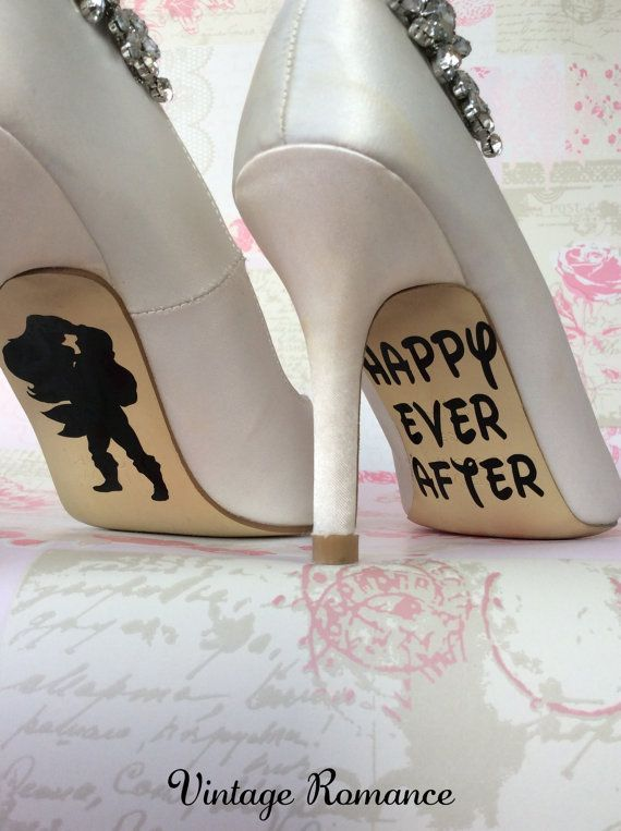Disney wedding day shoe sole vinyl decals / stickers Ariel and Eric the Little Mermaid