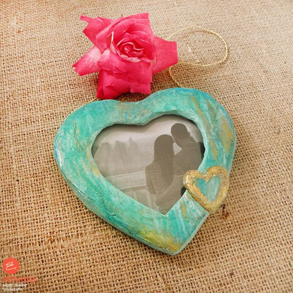 Papier mache heart photo framevalentines by EfthimiaPapierMache
