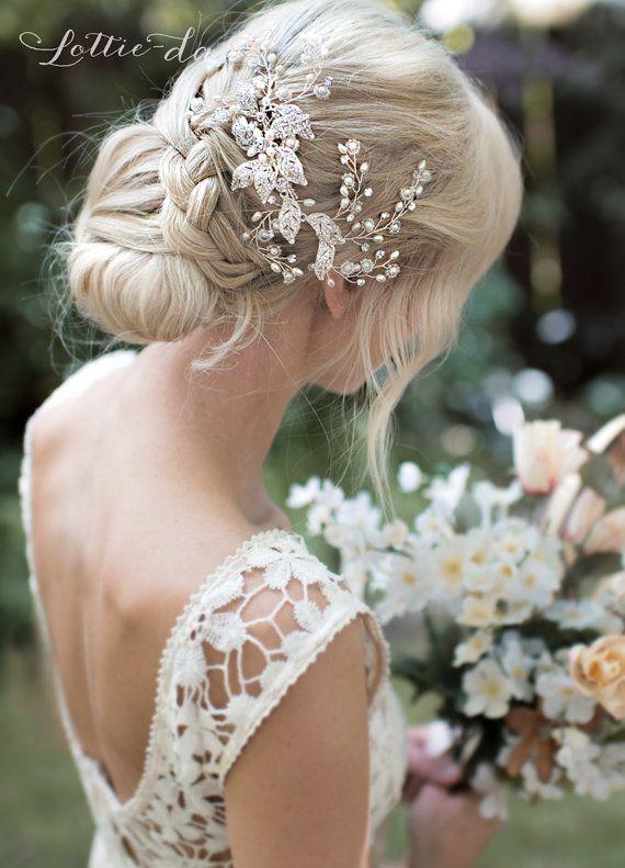 Boho Silber Blume Leaf Haar Rebe Hochzeit von LottieDaDesigns