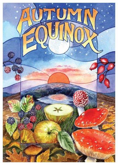 ✯ Autumn Equinox ✯ ☙ Celtic Wheel of the Year Sam Symonds illustrator - Card Shop, based in Norfolk ❧