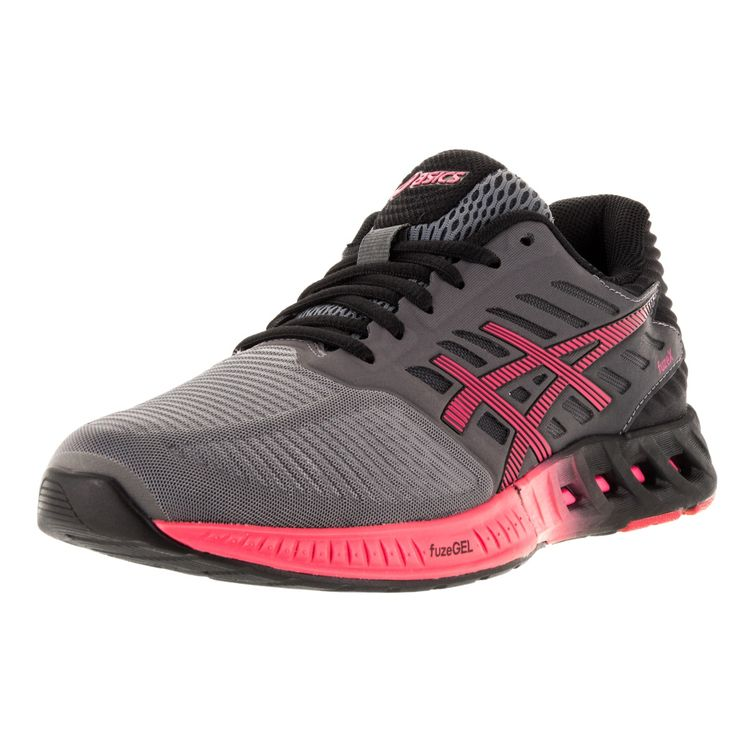 Asics Women's 'FuzeX' Titanium, Azalea, and Black Running Shoes