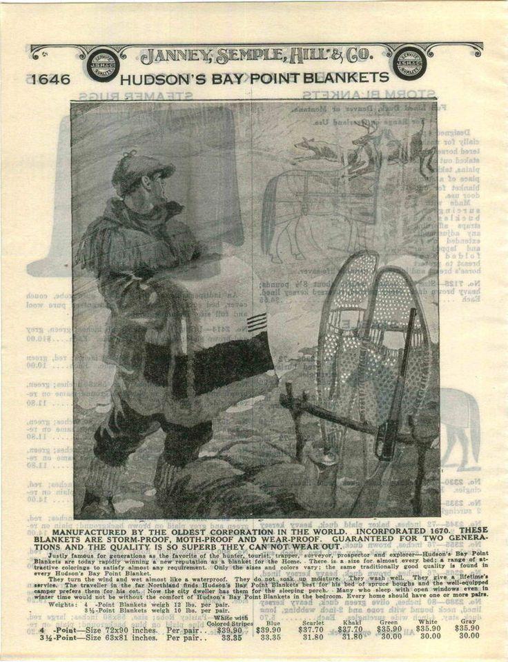 1928 ADVERTISEMENT Hudson's Bay Point Blanket Deer Image Snow Shoe Image