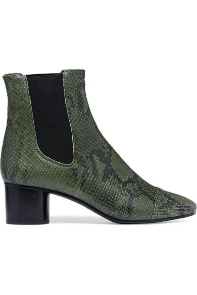 Heel measures approximately 50mm/ 2 inches Army-green and black python-effect leather Pull on Made in Italy